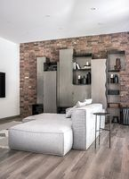 Stylish interior in modern style with different walls