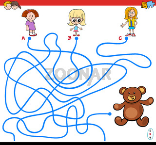 paths maze game with girls and teddy