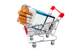 Cigarettes pack in shopping cart
