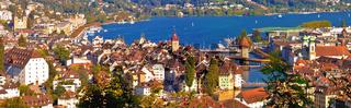 City and lake of Luzern panoramic aerial view