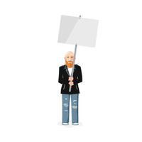 Demonstrator with blank poster, flat character isolated on white