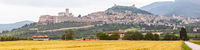 Assisi in Italy Umbria golden field panorama