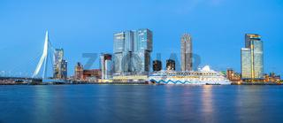 Panorama view of Rotterdam city skyline with Erasmus Bridge in Rotterdam, Netherlands