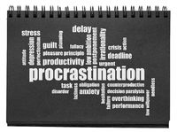 procrastination word cloud in sketchbook