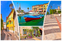 Garda lake town of Lazise tourist postcard