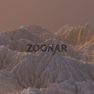 3D Illustration sandy Mountain Landscape. Mountainous Terrain. Abstract Background shot from top plane