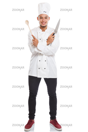 Cook cooking young man male job full body portrait isolated on white