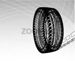 Car tire with tire marks on a light grey background. Vector blueprint illustration
