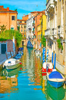 Picturesque side canal in Venice