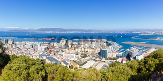 Gibraltar panorama landscape port Mediterranean Sea travel traveling town overview