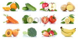 Obst und Gemüse Früchte viele Apfel Tomaten Orangen Bananen Farben Freisteller freigestellt isoliert