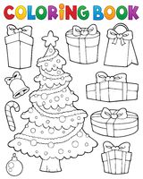 Coloring book Christmas tree and gifts 1