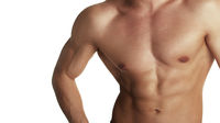 Muscular torso of bodybuilder