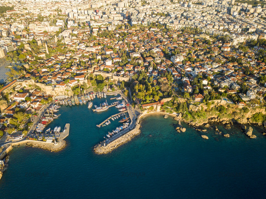 Aerial View Kaleici Harbor Hidirlik Antalya Turkey