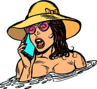 woman drowning in water. Phone call rescue service