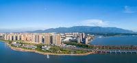 beautiful jiujiang cityscape and lushan mountain