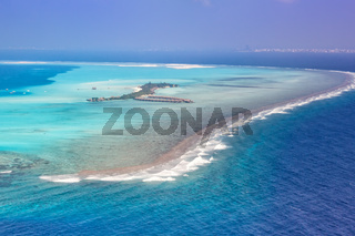 Malediven Insel Urlaub Paradies Meer Atoll Lagune Luftbild
