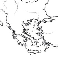 Map of The GREEK Lands: Greece, Peloponnese, Thrace, Macedonia, Balkans, Aegean Sea. Geographic chart.