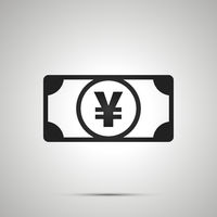 Abstract money banknote with JPY sign, simple black icon with shadow on gray