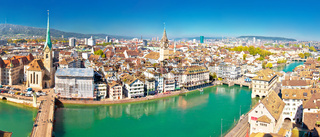 Zurich and Limmat river waterfront aerial panoramic view