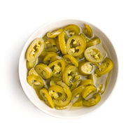 Slices of preserved Jalapeno pepper.
