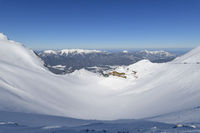Karwendelgrube Karwendel mountainrange with sun in winter