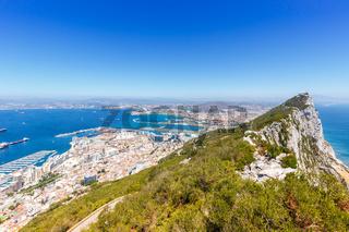 Gibraltar The Rock copyspace copy space landscape Mediterranean Sea travel town overview