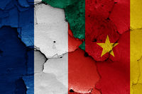 flags of France and Cameroon painted on cracked wall