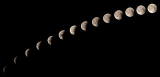 Time series of lunar eclipse on July 27 2018, sequence of 14 phases from 11:20 pm to 12:31 am, captured in Cairo, Egypt