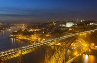 Porto old town and Dom Luis Bridge