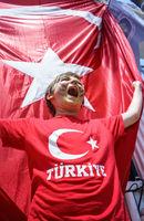 Boy and Waving National Turkey Flag of Silk