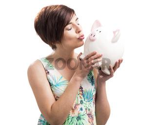 Kissing a piggy bank