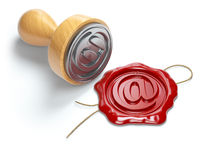 E-mail sign sealing wax stamp isolated on white background.  Internet communication concept.