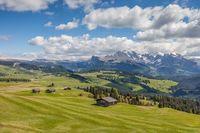 Mountain panorama on the Alpe di Siusi