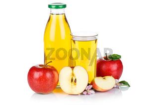 Apfelsaft Apfel Saft Äpfel Flasche Fruchtsaft freigestellt isoliert