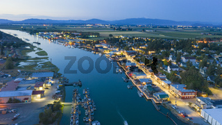 Night Falls Aerial View Over LaConner Washington and the Swinomish Channel