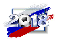 2018 with soccer ball. Poster soccer template