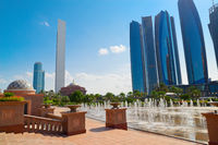 Park with fountains in Abu Dhabi city