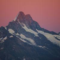 Mount Schreckhorn at sunrise. View from Mount Niederhorn.