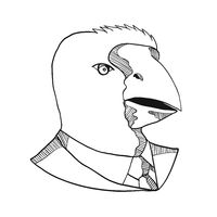 South Island Takahe Wearing Tie Drawing Black and White
