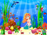 Little Mermaid among the inhabitants of the underwater world