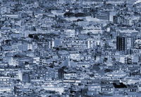 full frame abstract blue duotone modern cityscape urban landscape with dense crowded buildings