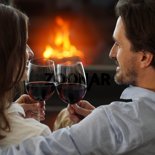 Romantic couple drinking wine