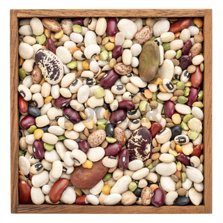 bean, lentils and pea mix in wooden box