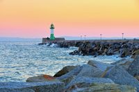 Sassnitz Leuchtturm - Sassnitz on island Ruegen, lighthouse in the evening