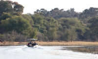 Tourists on a motorboat, on their way to spot hippo's