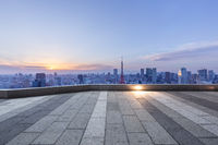 empty brick land with modern city skyline in japan