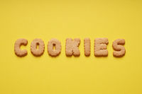 cookies word spelled out with cookie letters or characters