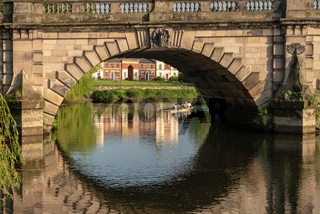 View over the River Severn of English Bridge in Shrewsbury