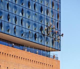 Fensterputzer an der Elbphilharmonie